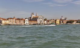 View on the Venice lagoon with Gesuati church, Italy. Stock Photos