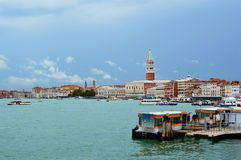 View of the Venice Lagoon with St Mark`s bell tower and the Doge`s Palace on the background, Veni royalty free stock images