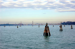 View on Venice from Lido island, Italy Royalty Free Stock Image