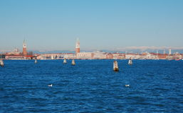 View on Venice from Lido island, Italy Royalty Free Stock Photos