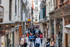 A view of the Venice markets full of tourists shopping and sigh Royalty Free Stock Photo