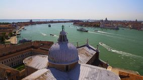 View of Venice from Saint George church roof, tourism and transportation. Stock footage stock footage