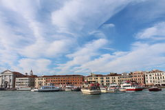 View of Venice from the sea shore. Full of historical buildings, bridges and boats Stock Photography