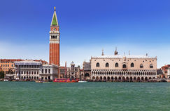 View of Venice with St. Mark`s square and the Venetian lagoon Royalty Free Stock Image