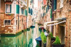 View of Venice traditional canal with boats .Venice is a popular tourist destination of Europe. View of Venice traditional canal with boats .Venice is a popular Royalty Free Stock Photo