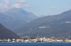 View upon Verbania, Lake Maggiore, Italy stock photo