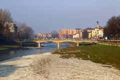 View on Verdi bridge over Parma river Royalty Free Stock Photography