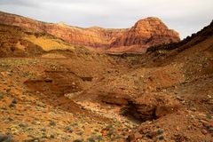 Vermillion Cliffs in Arizona. A view of the Vermillion Cliffs near Lee`s Ferry in Arizona Stock Photos