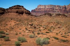 Vermillion Cliffs in Arizona. A view of the Vermillion Cliffs near Lee`s Ferry in Arizona Stock Images