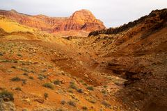 Vermillion Cliffs in Arizona. A view of the Vermillion Cliffs near Lee`s Ferry in Arizona Stock Image