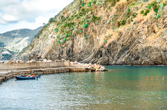 View of Vernazza lagoon and pier Stock Photos