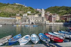 View of Vernazza Marina in the historic center of the village, Cinque Terre, Italy stock image