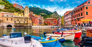 View of Vernazza village, Cinque Terre, Italy. View from the pier to the village royalty free stock photo