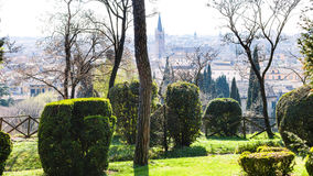 View of Verona city from Giusti Garden in spring Stock Photos