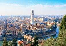 View of Verona city with Ponte Pietra and the river Adige at sunny morning, Italy Stock Photo