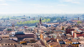 View of Verona city with waterfront of Adige River Royalty Free Stock Image