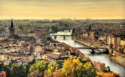 View of Verona in the morning haze Stock Image
