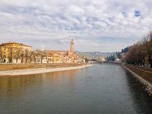 View of Verona from the river adige Stock Photography