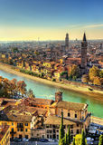 View of Verona with Santa Anastasia church Stock Images