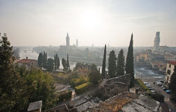 View of Verona from the top of the Roman Forum. The sun sets. A beautiful city view. River, city, architecture Stock Photo