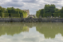 View of Versailles Chateau, gardens and famous fountains Royalty Free Stock Images