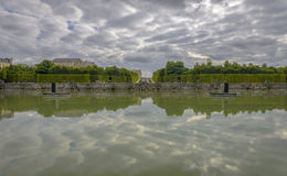 View of Versailles Chateau, gardens and famous fountains Stock Photo