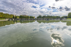 View of Versailles Chateau, gardens and famous fountains Royalty Free Stock Image