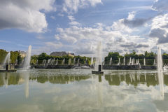 View of Versailles Chateau, gardens, famous fountains Stock Images