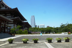 View that the very embodiment of old and new in Japan Stock Image