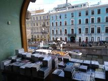 View from very famous book store in Saint Petersburg stock image