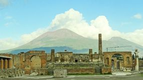 View of the Vesuv volcano from Pompei city, Italy stock image