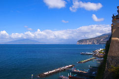 View of vesuvius and the Bay of Naples Italy. The view from the cliffs of Sorrento overlooking the Bay of Naples Italy royalty free stock image