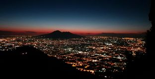 View of Vesuvius and the lights of Naples royalty free stock photos