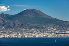 View of the Vesuvius mountain. View of the Naples bay with Vesuvius mountain royalty free stock images
