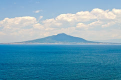 View of the Vesuvius from Sorrento Town in the Bay of Naples Royalty Free Stock Photos