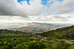 View from Vesuvius volcano of Naples and the gulf, Italy. View from one of the most dangerous volcanoes in the world Vesuvius to the Naples and the gulf, Italy Stock Images