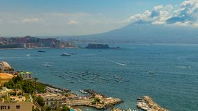 View of the Vesuvius volcano from the Posillipo area Naples.  stock photography