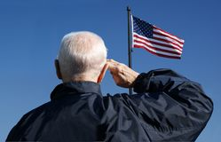 Veteran Salute. View of a veteran saluting the flag of the United States Royalty Free Stock Photos
