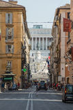View from Via Del Corso shopping street in the direction Piazza Venezia Stock Image