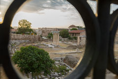 View via gate of Roman forum, Agora of Athens, Greece Stock Photo