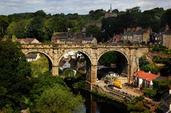 View of the viaduct in Knaresborough, England. View of the viaduct bridge in Knaresborough, taken from the castle hill on the bank of river Nidd, North Yorkshire Royalty Free Stock Photography
