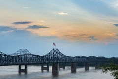 View of the Vicksburg bridge over the Mississippi River. At sunset royalty free stock photography