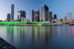 BRISBANE, QUEENSLAND, AUSTRALIA - AUGUST 19th 2018: View of Victoria bridge and river in Brisbane city, Queensland at dusk. Stock Images