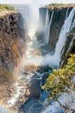 View of Victoria Falls on Zambezi River Royalty Free Stock Photos