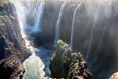 View of Victoria Falls on Zambezi River Royalty Free Stock Photography
