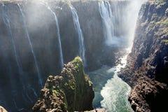 View of Victoria Falls on Zambezi River Stock Image