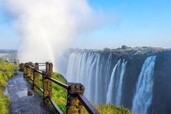 Knife edge bridge at Victoria Falls. View of Victoria Falls at Zambia side, one of most iconic African natural landmarks royalty free stock image