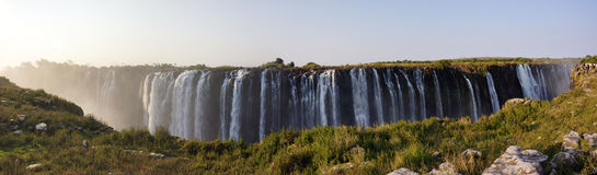 View of Victoria Falls from Zimbabwe side. Victoria Falls, Zimbabwe-July 31, 2015:this waterfall is among the biggest waterfalls on the earth Stock Image