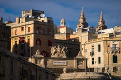 View of the Victoria Gate. Valletta. Malta. View of the Victoria Gate. The roofs of the old town of Valletta. The capital of Malta. Towers and gates. Maltese Royalty Free Stock Image
