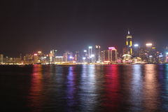 View of Victoria habour. Hong Kong city at night Stock Photo